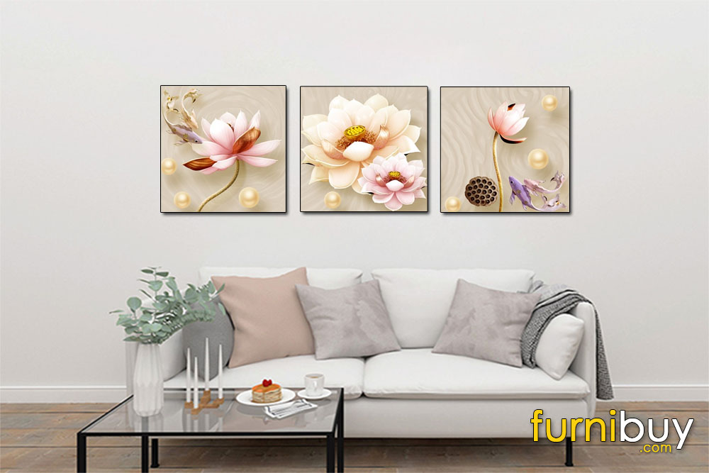 Tranh canvas hoa sen ghép bộ 3 tấm treo phòng khách đẹp AmiA 1709