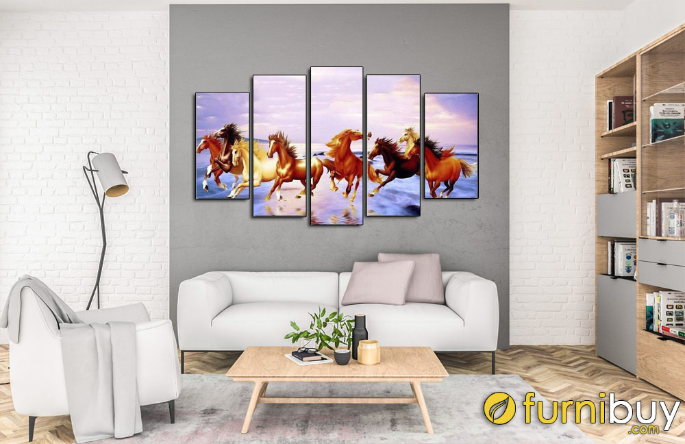 Tranh mã đáo thành công ghép bộ 5 tấm treo phòng khách đẹp AmiA MD005
