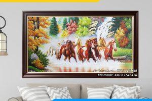 Tranh sơn dầu mã đáo thành công treo phòng khách, phòng làm việc ý nghĩa AmiA TSD 246