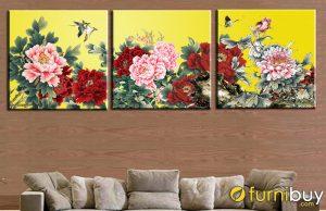 Tranh hoa mẫu đơn ghép bộ treo phòng khách đẹp AmiA HMD1001