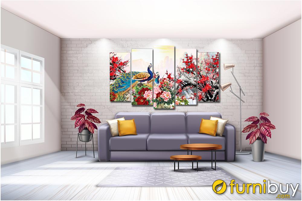 Tranh chim công hoa mẫu đơn và hoa đào treo phòng khách ghép bộ 5 tấm amia 1604B