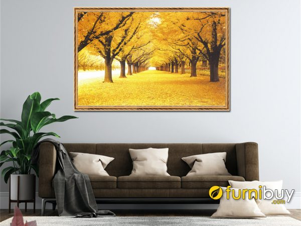 Tranh hàng cây mùa thu lá vàng làm theo yêu cầu