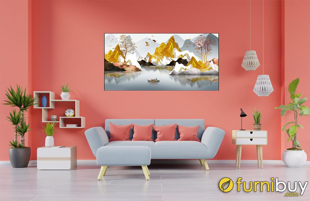 Tranh núi 1 tấm in canvas treo sau ghế sofa