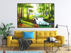 Mẫu tranh vẽ rừng cây với thác nước phù hợp treo phong phòng khách