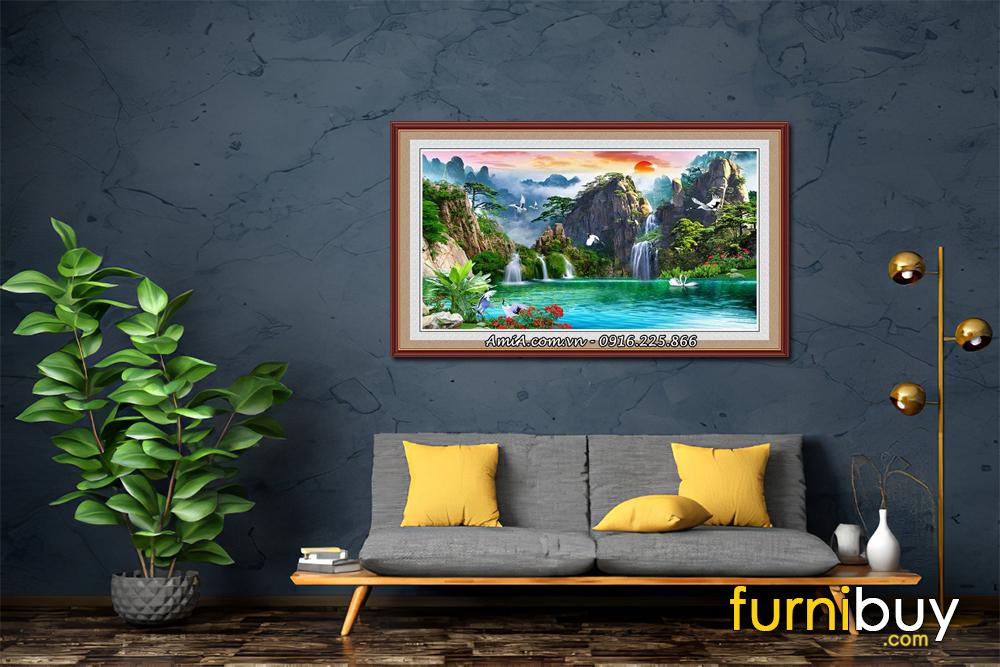 Tranh sơn thủy trang trí tường hiện đại