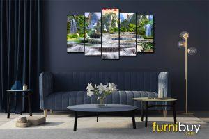 Tranh sơn thủy hữu tình ghép bộ 5 tấm treo phòng khách đẹp AmiA ST1108