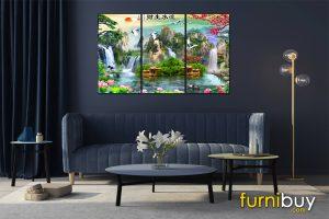Tranh sơn thủy hữu tình ghép bộ treo phòng khách đẹp AmiA ST1105
