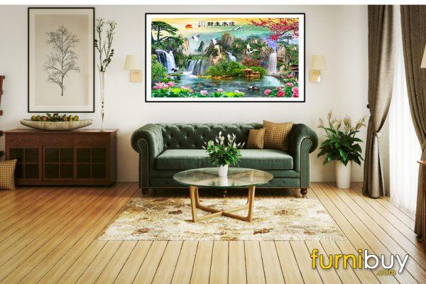 Tranh sơn thủy hữu tình treo phòng khách đẹp AmiA ST1101