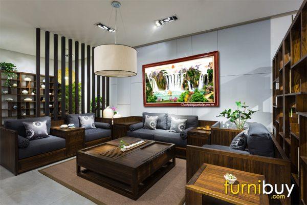 Tranh sơn thủy hữu tình khổ lớn treo phòng khách đẹp AmiA 1443