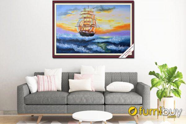 Tranh sơn dầu vẽ thuyền buồm lướt trên sóng lúc bình minh hợp phong thủy Amia TSD 421