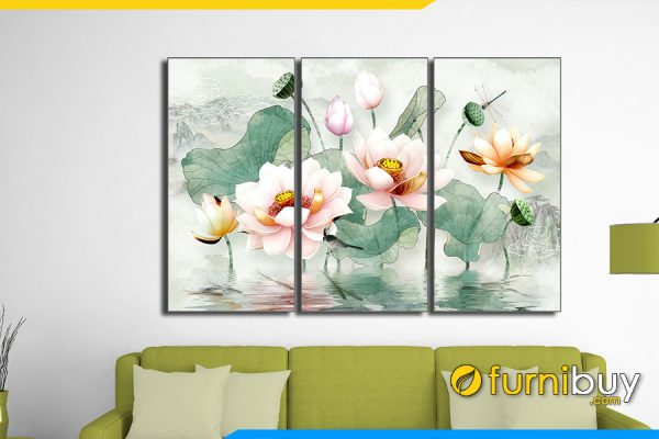 Tranh hoa sen in giả 3D treo phòng khách ý nghĩa AmiA 1620A