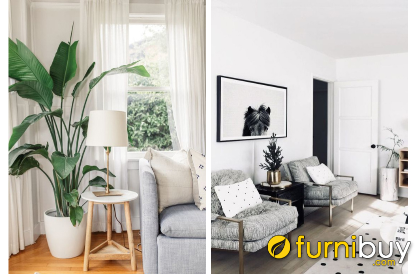 Tranh đen trắng 1 tấm treo tường kết hợp sofa đơn để trang trí phòng khách nhỏ