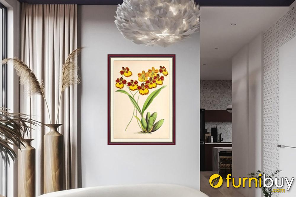 Trang trí tranh treo tường hình chữ nhật đứng ở phòng khách