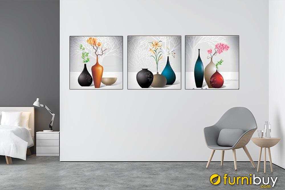 Tranh bình hoa đẹp treo tường phòng khách AmiA 1557
