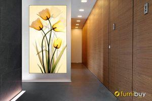 Tranh hoa tuylip khổ đứng treo tường phòng khách đẹp amia 892
