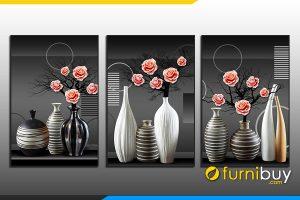 Tranh bình hoa ghép bộ nghệ thuật treo phòng khách đẹp AmiA 919010