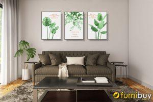 Tranh bộ canvas lá cây AmiA CV03 treo tường phòng khách đẹp