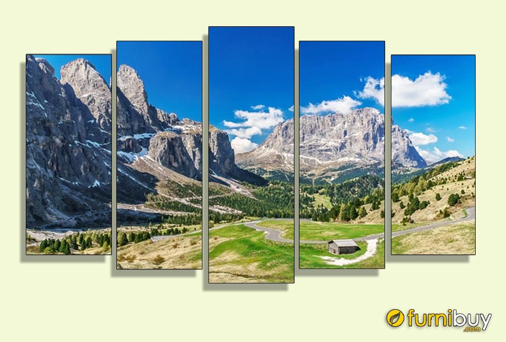 Tranh núi AmiA 1584 ghép bộ hiện đại