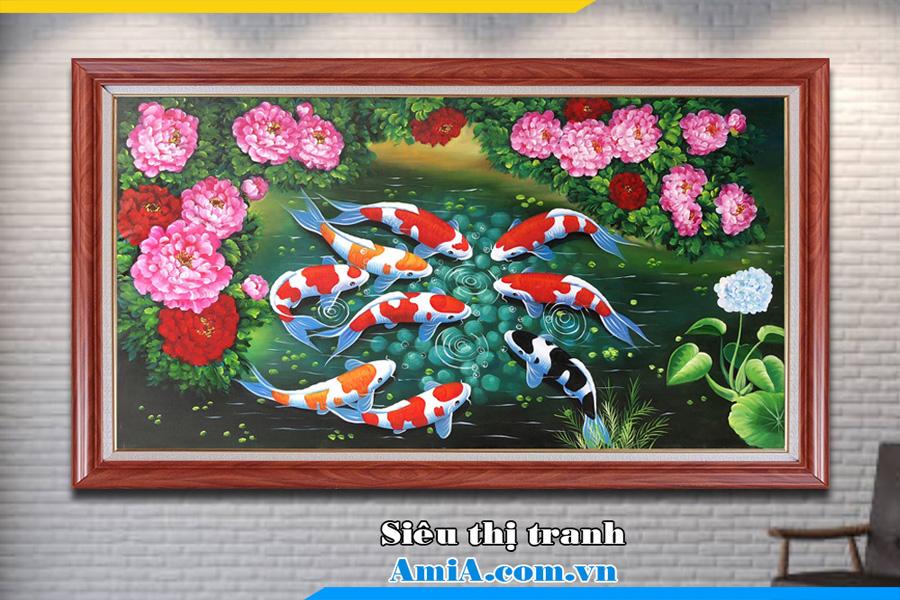 Tranh sơn dầu cá chép hoa mẫu đơn Amia TSD 189