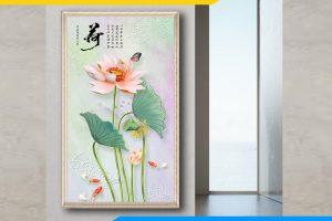Tranh hoa sen dọc đẹp treo phòng khách AmiA 1743