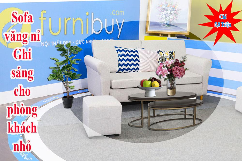 Sofa văng nỉ màu ghi sáng cho phòng khách nhỏ FB230601