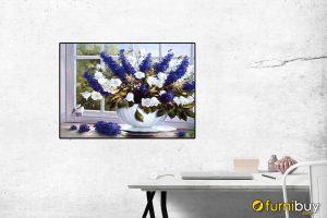 Tranh bình hoa in giả sơn dầu treo tường phòng ăn đẹp AmiA 682