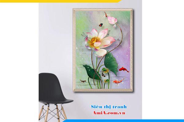 Tranh canvas hoa sen khổ đứng treo phòng khách đẹp AmiA 1742