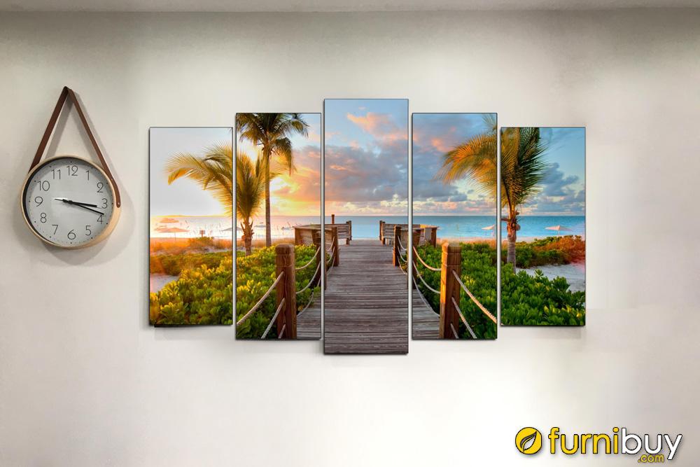 Hình ảnh thực tế mẫu tranh ghép bộ phong cảnh cây cầu ra biển AmiA 1800