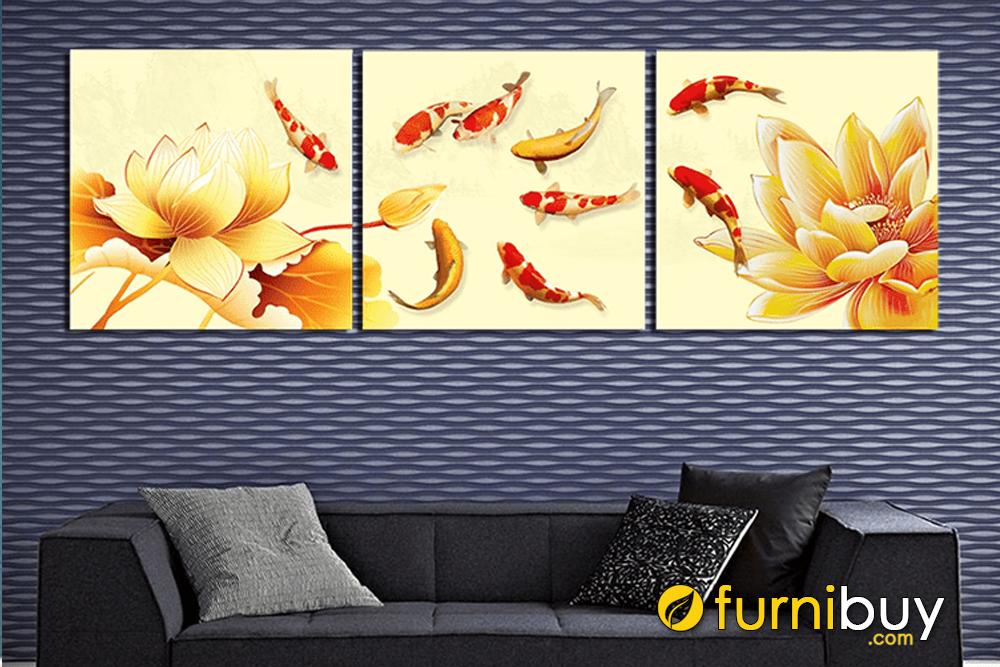 Mẫu tranh ghép bộ 3 tấm Cửu ngư cá chép hoa sen vàng