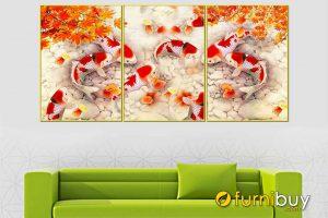 Tranh cá chép hoa sen đẹp AmiA CN11