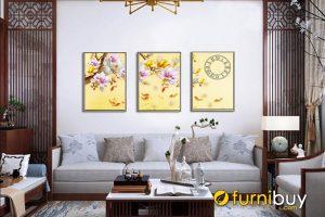 Tranh cá chép hoa mộc lan AmiA 985 treo phòng khách hiện đại