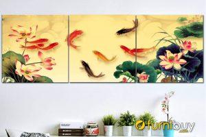 Tranh cửu ngư quần hội ghép bộ đẹp AmiA CN12