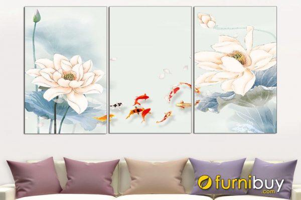 Tranh cưu ngư ghép bộ treo phòng khách đẹp AmiA 919007