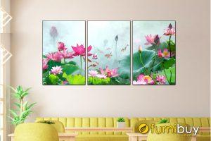 tranh hoa sen ghép bộ 3 tấm đẹp AmiA 1321