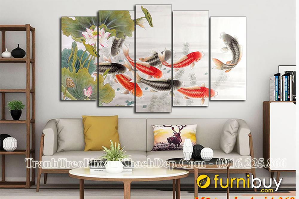 Tranh cửu ngư quần hội Cá chép hoa sen bán chạy nhất