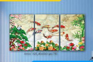 Tranh ghép bộ 3 tấm cửu ngư quần tụ AmiA 1625