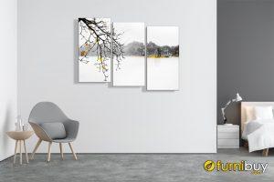 tranh hồ gươm đen trắng treo tường phòng khách đẹp AmiA 1467