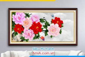 Tranh hoa mẫu đơn treo phòng khách nhỏ AmiA 1418