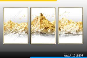 Tranh khổ nhỏ núi vàng phù hợp cho trang trí phòng khách nhỏ AmiA 1219203
