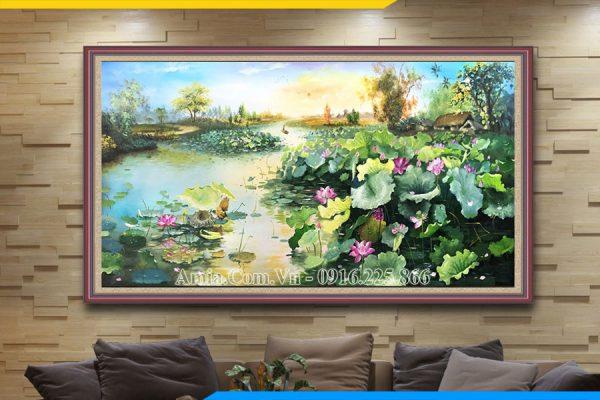 Tranh sơn dầu đầm sen khổ lớn treo phòng khách đẹp Amia TSD 454