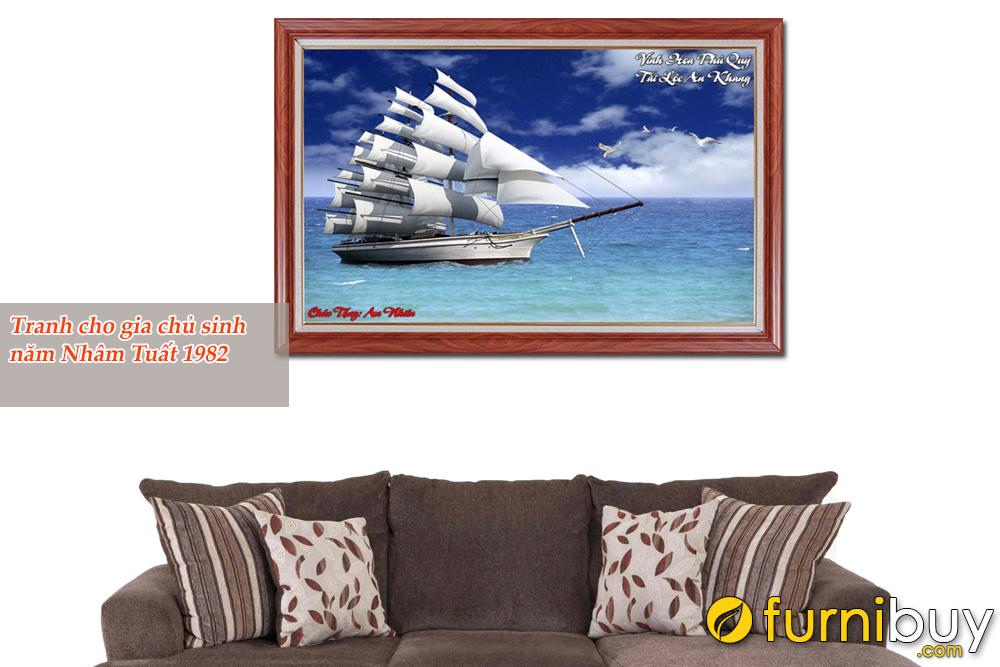 Tranh Thuận buồm rất hợp với gia chủ sinh năm 1982