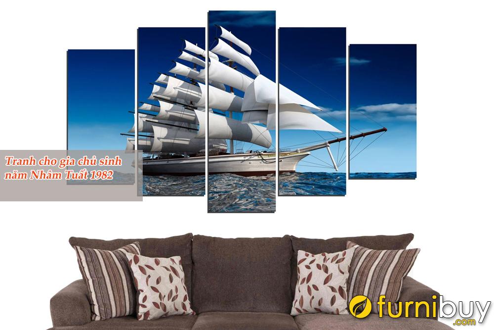 Tranh Thuận buồm xuôi gió ghép 5 tấm hiện đại
