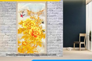 Tranh mẫu đơn vàng phú quý treo tường AmiA HMD110