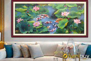 Tranh sơn dầu cửu ngư quần hội treo phòng khách đẹp AmiA TSD CN001