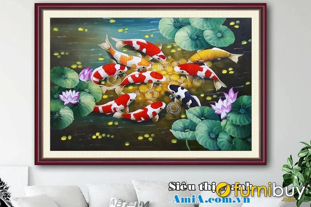 Tranh sơn dầu khổ nhỏ cá chép hoa sen AmiA TSD 167