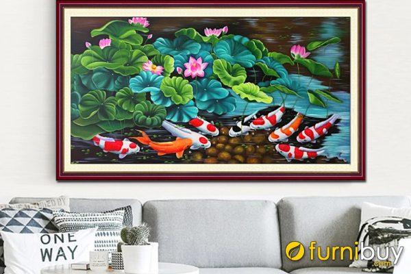 tranh vẽ sơn dầu cá chép hoa sen Amia TSD 389