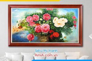 Tranh sơn dầu hoa mẫu đơn Amia TSD453