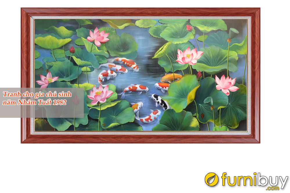 Tranh cá chép hoa sen mang lại may mắn