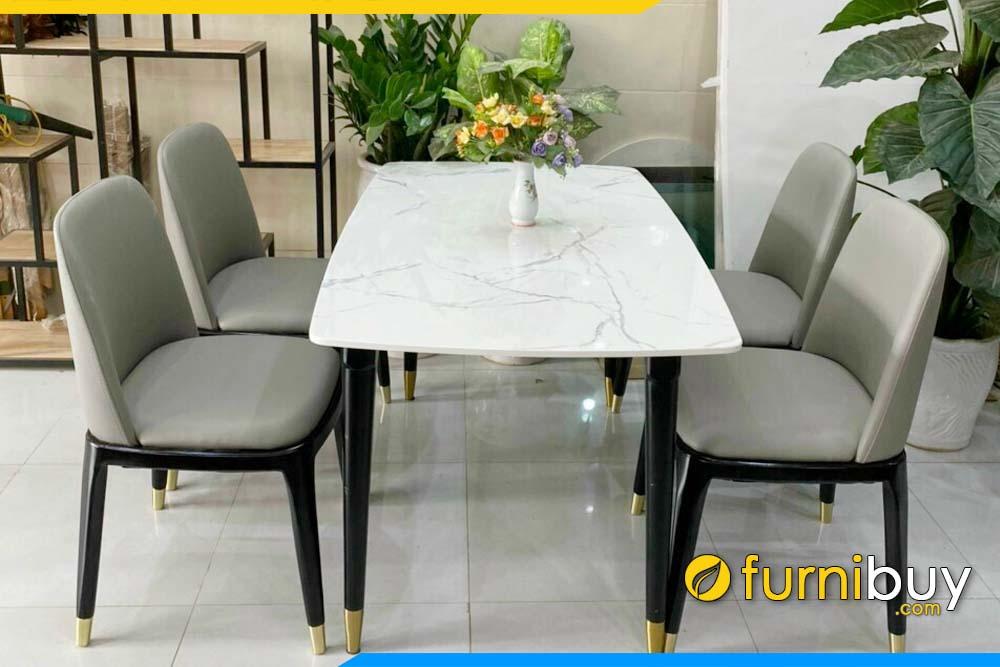 BA038B Bộ bàn ăn mặt đá kết hợp 4 ghế Grace đẹp hiện đại
