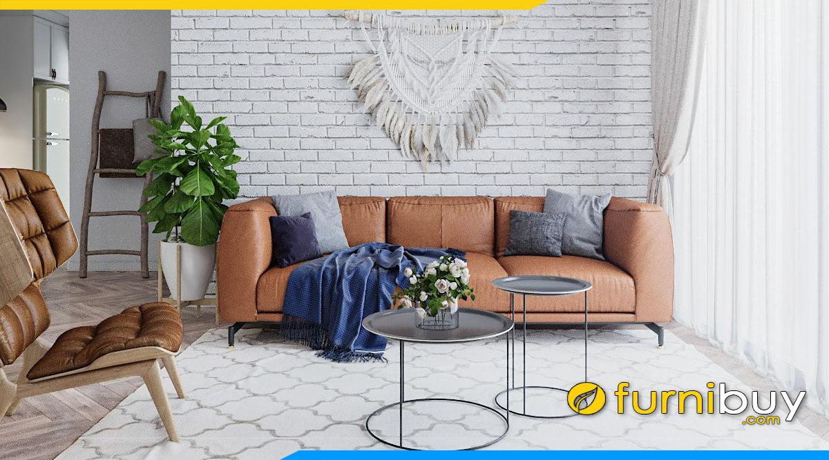 sofa da ke phong khach dep